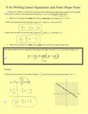 6-5a writing linear equations in point-slope form