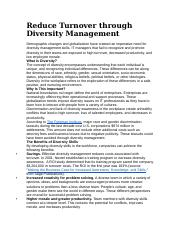 Reduce Turnover through Diversity Management