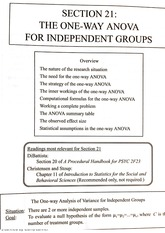 The One Way ANOVA for Independent Groups
