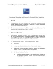 cma professional misconduct and code of professional ethics regulation