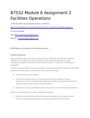 B7532 Module 6 Assignment 2 Facilities Operations.docx