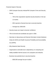 Notes on Financial Impact of Security