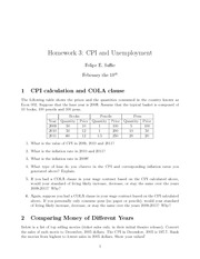 CPI and Unemployment Homework