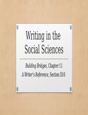 ENG 112 Building Bridges Chapter 11 Writing in the Social Sciences.pptx