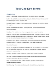 Test One Key Terms
