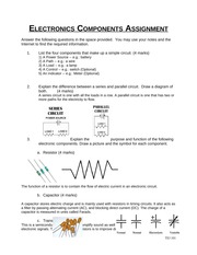 Electronics Components Assignment