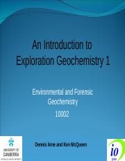 Exploration Geochemistry 1