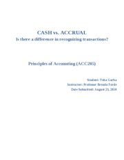 ACC 205 - CASH vs Accrual basis of accounting