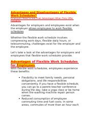 BUS 316 -FLEX - ADVANTAGES & DISADVANTAGES FOR EMPLOYEES & EMPLOYERS