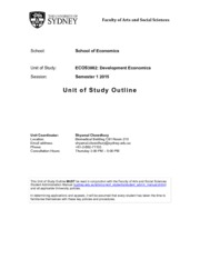 ECOS3002 Development Economics UoS outline_S1, 2015