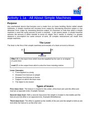 Lab 1 Answer Key Doc All About Simple Machines Answer Key Solve