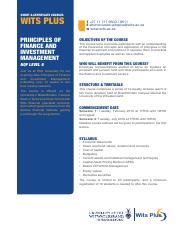 Principles of Finance and Investment Management Wits Plus