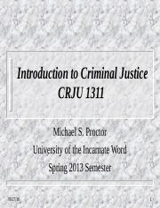 Introduction to Criminal Justice-UIW-Spring 2013
