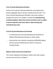 Cost of Goods Manufactured Notes