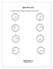 Worksheet_la_hora_telling_time_in_Spanish