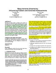 Requirements uncertainty influencing factors and concrete improvements