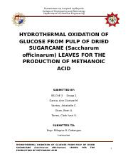 HYDROTHERMAL OXIDATION OF GLUCOSE FROM PULP OF DRIED SUGARCANE (Saccharum officinarum) LEAVES FOR TH