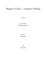 "Unit 5 Manager's Toolbox â€"" Integrative Thinking"
