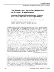 The Primary and Secondary Prevention of Coronary Artery Disease