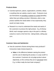 Products Notes