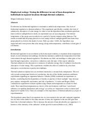 BIOLAB Biophysical Ecology Lab Report