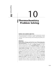 Exp. 10 Thermochemistry Problem Solving