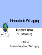 01 INTRODUCTION TO Formation Evaluation and Well Logging