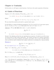 Math 501 Chapter 4 Continuity Notes