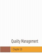 w11Chap010 Quality management