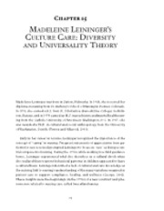 Madeleine Leininger's Culture Care Diversity and Universality Theory-Ch 15