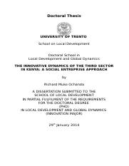 THE INNOVATIVE DYNAMICS OF THE THIRD SECTOR IN KENYA A SOCIAL ENTREPRISE APPROACH Richard.doc