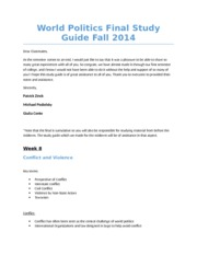 World Politics Final Study Guide Fall 2014