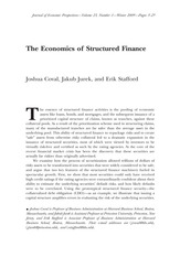 Coval_Jurek_Stafford_The economics of structured finance_Journal of Economic Perspectives 2009