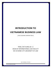 TVD - introduction to vietnamese business law