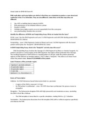 Study Guide for BMB 400 Exam 3