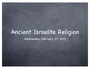Ancient Israelite Religion Lecture 2-27