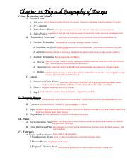 CH 11 Notes pdf - Chapter 11 Physical Geography of Europe I
