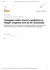 Telangana seeks Centre's mediation in 'illegal' irrigation acts by AP, Karnataka - Livemint