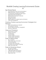 Woolfolk Creating Learning Environments Cluster 12 notes