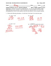 Student Proficiency Test 1 Solution on Decimal, Arithmetic, and Rounding