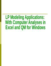 05. LP Modeling Applications