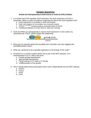 Sample Questions - Biology 430