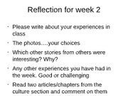 Reflection for week 2
