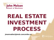 PPT REAL ESTATE INVESTMENT PROCESS