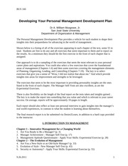 BUS 160- Directions for Personal Management Development Plan