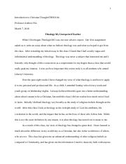 theo 104 reflection Theo 104 reflection essay grading rubric criteria content of question: theo 104: last assignment of this course: i will upload the assignment, the instructions, and the grading rubric.
