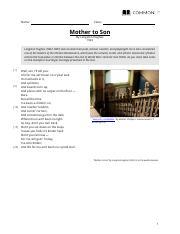 Poem Analysis_ Mother to Son by Langston Hughes.pdf - Poem ...
