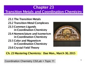 Chapter 23- Transition Metals and Coordination Chemistry