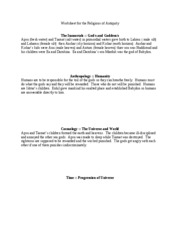 Worksheet for Mesopotamia