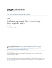 Leadership assessment- A tool for developing future hospitality l